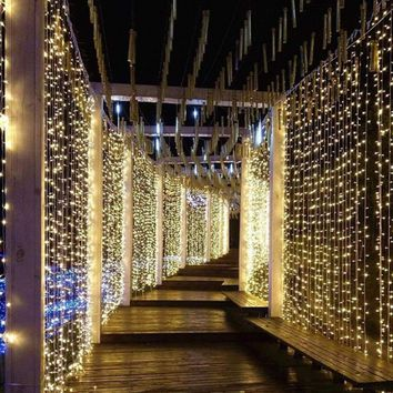 """Curtain String Light 600 LEDs Remote Control Indoor Wedding Home Garden Party Decor  (6 x 3 meters) (236"""" x 118"""" inches)"""