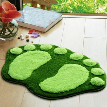 Autumn Fall welcome door mat doormat 2018 New Home garden 1pcs resell Cute Lovely Flocking footprints big feet bath mat s Rug  shipping AT_76_7