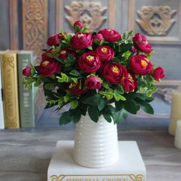 ICIK272 Silk Flower Fake Peony Flower Hot Vivid 6 Branches Autumn Artificial Flowers Wedding Home Party Decoration High Quality C2