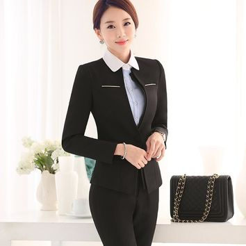 Women's Business Suits Formal Office trousers Suit female Workwear 2 Piece Sets One Button Uniform Designs Blazer with pant