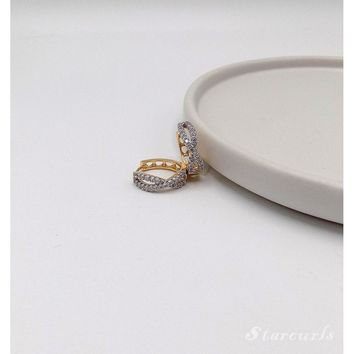 Infinity Pave Huggie Hoop Earrings (E-1809)