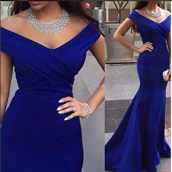 2017 Robe De Soiree Sexy V-neck Floor Length Women Mermaid Royal Blue Long Evening Party Gowns Elegant Prom Dresses Hot Sale