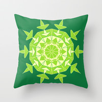 Green mandala  Throw Pillow by cycreation