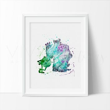 Mike & Sulley 2 Watercolor Art Print