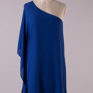 Solid Royal One Shouldered Dress