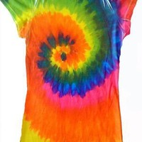 Sublimation RAINBOW COLORFUL SWIRL Tie Dye Fitted Juniors Girly Retro Groovy Vintage T-Shirt