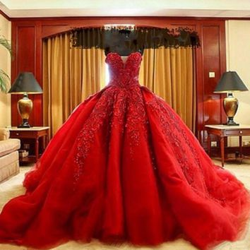 Red Vintage Quinceanera Ball Gown