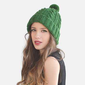 SALE 15% OFF / Hand Knit Beanie in Forest Green, Womens Pom Hat, Unisex Ski Hat, Mens Bobble Hat, Cable Knit Beanie, Custom Knit Hat