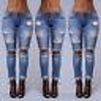 Womens Ladies Stretch Faded Ripped Distressed Slim Fit Skinny Denim Jeans Jeggings Size S M L XL XXL