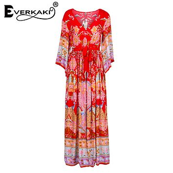 Everkaki Gypsy Collective Lotus Kimono Gown Boho Style Long Dress V Neck High Waist Flare Sleeve Print Dresses SpellDesign Brand