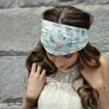 Mint Floral Chiffon Headband,  Boho Hippie Head wrap