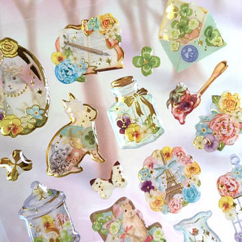 rabbit sticker super cute animal fancy girly sticker Easter rabbit kawaii bunny flower garden themed diy resin retro epoxy sticker gift