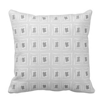 Square Distorted Pattern White & Gray Throw Pillow