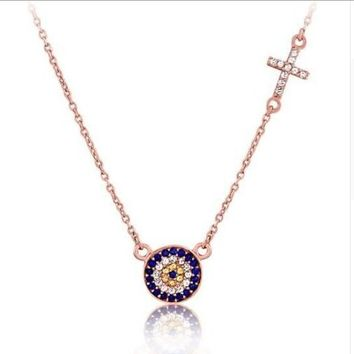 2017 new arrived cz connector evil eye cross pendant 925 sterling silver necklace