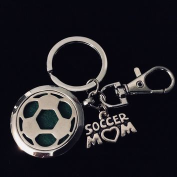 Soccer Mom FOB Aromatherapy Key Chain Silver Key Ring Gift Inspirational Meaningful Lobster Claw Closure