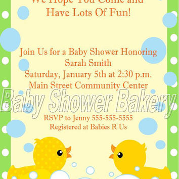Printable Rubber Duck Baby Shower Invitation, Rubber Duck Baby Shower Invitation, Gender Neutral Baby Shower Invitation