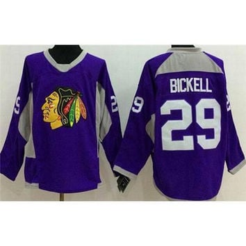 Blackhawks #29 Hockey Jerseys Bryan Bickell Purple Ice Hockey Jerseys Top Quality Comfortable Mens Outdoor Sportswear Best Christmas Gift