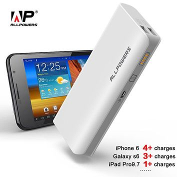 ALLPOWERS 15600mAh Phone External Battery Charger Power Bank for iPhone 4 4s 5 5s 6 6s 7 iPad Air iPad Mini Samsung LG HTC Sony.