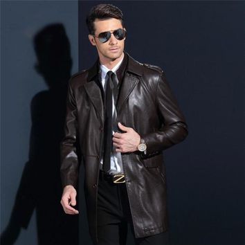 Long Leather Coats Men Single-Breasted Coat Pu Leather Man Slim Trench Coats Plus Size M-4Xl Jacket For Male Ds50141