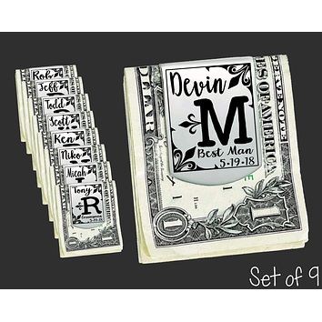 Set of 9 Personalized Money Clips | Groomsmen Gifts