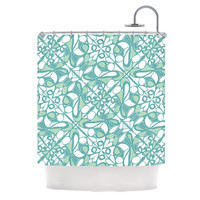 "Miranda Mol ""Swirling Tiles Teal"" Shower Curtain"