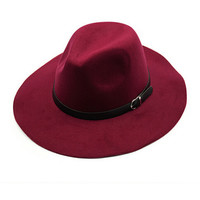 Bordeaux Belt Band Felt Fedora Hat