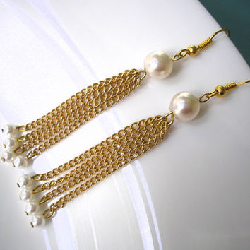 Minimalist Gold Chain Earrings, Dangle Earrings, Upcycled Jewelry, Delicate Pearl Earrings, Boho, Dainty, Tiny, Bridal, Handmade
