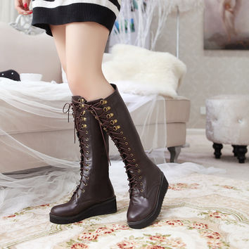 PU Round Toe Lace Up Platform Knee High Boots