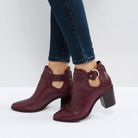 Ted Baker Sybell Burgundy Leather Heeled Ankle Boots at asos.com