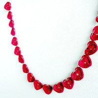 Crochet Red Hearts Garland L - 22 hearts