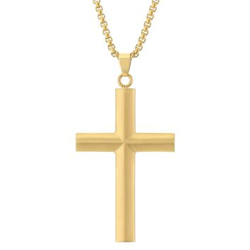 "Stainless Steel Cross Pendant with Gold Plating on a 24"" Box Chain"