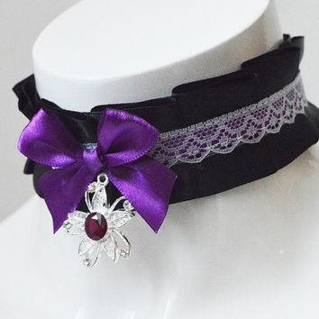 Gothic lolita choker - Purple orchid - black white and purple pleated collar necklace with sterling silver pendant - dark witch jewelry