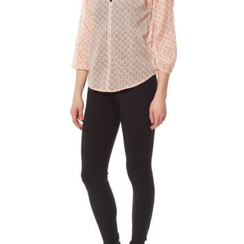 Coral and Cream Blouse