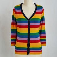 Kawaii Mid-length 3 Charter School Cardigan in Rainbow