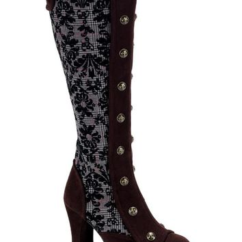 Pleaser Female 4 Inch Heel Platform Steampunk Victorian Knee Boot CRYP301