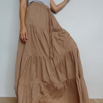 Women Ruffle Long Skirt , Casual Gypsy, Bohemian , Cotton Blend In Khaki (Skirt *B5).