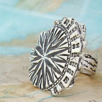 Compass Explorer Silver Ring