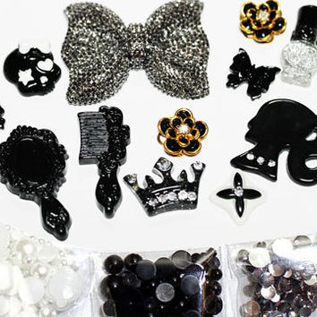 DIY 3D Bling Cell Phone Case Deco Kit: Black Resin Cabochons, Hearts, Bows. S4 Cases Sold out, Orders with s4 will not be met.