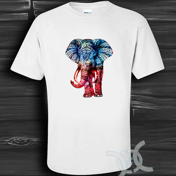 elephant aztec nebula White Design By Custom And Clothing T-Shirt men size S,M,L,XL