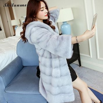 2017 Fashion New Winter Women Warm Faux Fur Coat with Hoodie Women Vintage Mink Fox Long Jacket High Quality White Pink Fur Coat