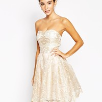 Chi Chi London Premium Metallic Lace Bandeau Mini Prom Dress