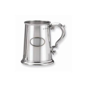 Stainless Steel Glass Bottom Pewter Plate Tankard - Engravable Gift Item