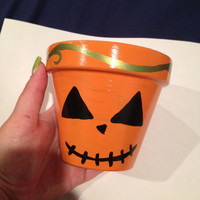 Cute Jackolantern Painted Pot - Halloween