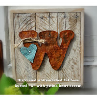 Reclaimed Wood Letter Sign Home Decor Rustic Decor Initial Sign Pallet Board and Rusted Metal Sign Wall Art Initial Country Distressed