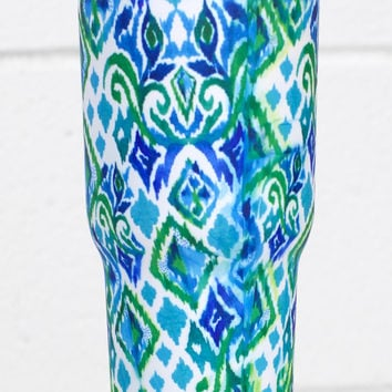 Stainless Steel 30 oz Diamond Print Hot/Cold Tumbler {Blue}