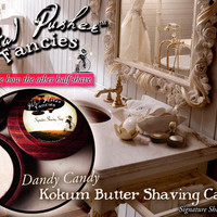 Dandy Candy Kokum Butter Shaving Cake with Antique Style Wooden Bowl