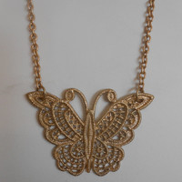 20 inch long Matte Gold Necklace with Gold Lace Butterfly Pendant, N-1104