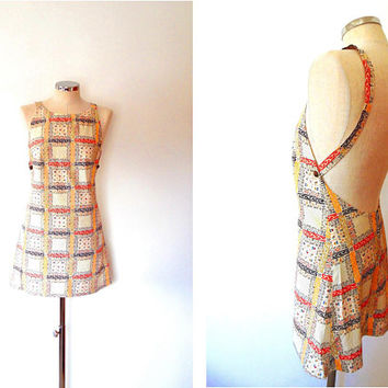Patchwork flower pinafore dress / retro / vintage / 1960s / brass button / cream / red / yellow / navy / strap / cotton / summer mini dress