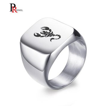 Punk Scorpion Rings for Men Solid Silver Color High Polished Stainless Steel Band Biker Men's Signet Ring Free Engraving