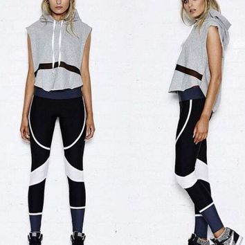 Sleeveless Hooded Slim casual sports suit